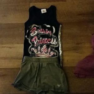 Other - Birthday princess tank and justice shorts